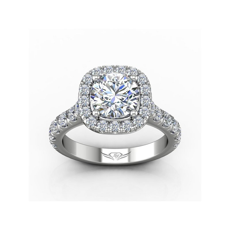 3 1/3ct tw Diamond Halo Engagement Ring in 14K White Gold
