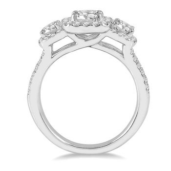 7/8ct tw Diamond Three Stone Engagement Ring Setting in 14K White Gold