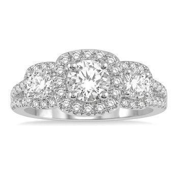 7/8ct tw Diamond Three Stone Engagement Ring Setting in 14K White Gold