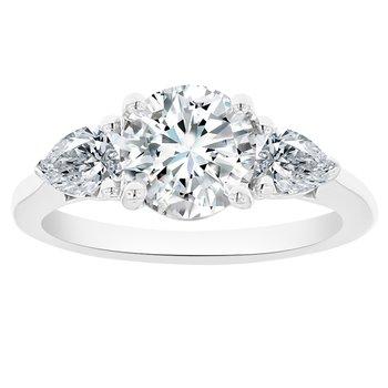 2 1/8ct tw NewBorn Lab Created Diamond Three Stone Engagement Ring in 14K White Gold
