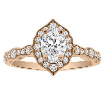 3/8ct tw NewBorn Lab Created Diamond Halo Engagement Ring Setting in 14K Rose Gold