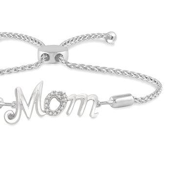 ".05ct tw Diamond ""Mom"" Bolo Bracelet in Sterling SIlver"
