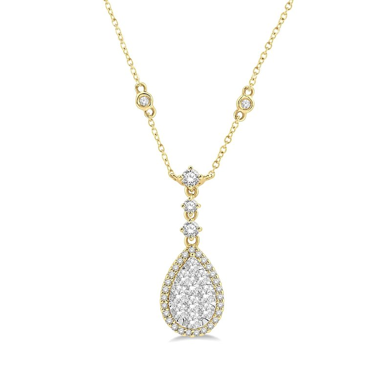 1ct tw Diamond Thousand Point of Lights Necklace in 14K White & Yellow Gold