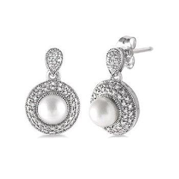.06ct tw Diamond & Pearl Halo Fashion Earrings in Sterling Silver