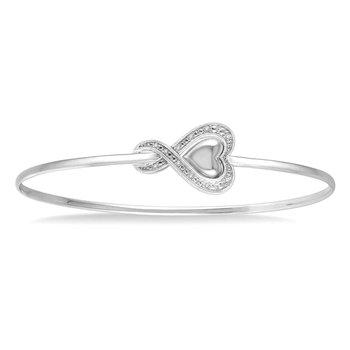 1/14ct tw Diamond Heart Bangle Bracelet in Sterling Silver