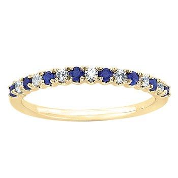 3/8ct tw Diamond & Sapphire Anniversary Ring in 14K Yellow Gold