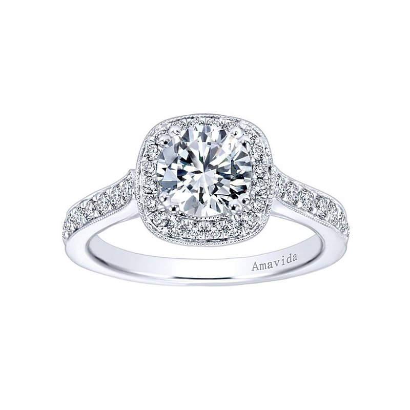 1/2ct tw Diamond Halo Engagement Ring Setting in 18K White Gold