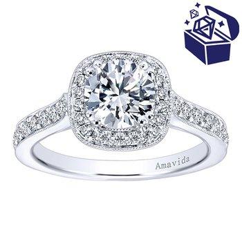 Treasure Hunt Value 1/2ct tw Diamond Halo Engagement Ring Setting in 18K White Gold