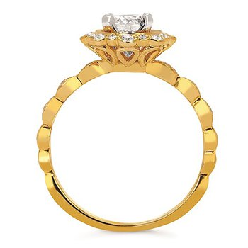 1/4ct tw Diamond Halo Engagement Ring Setting in 14K Yellow Gold