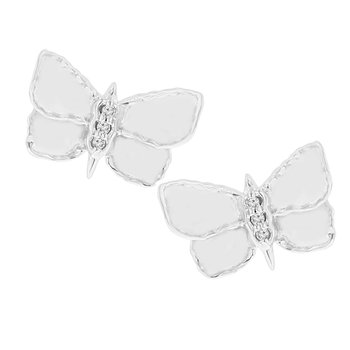.02ct tw Diamond Garden District Collection Butterfly Earrings in Sterling Silver