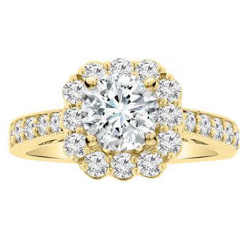 7/8ct tw Diamond Halo Engagement Ring Setting in 14K Yellow Gold