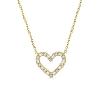 1/4ct tw Diamond Heart Necklace in 14K Yellow Gold