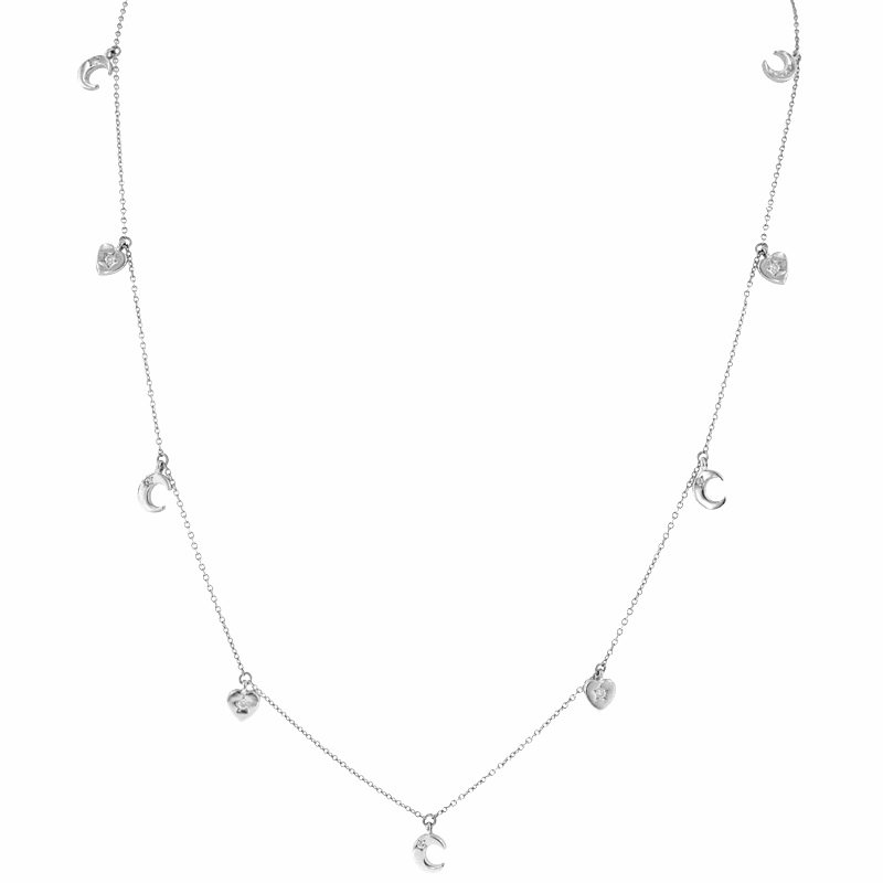 1/8ct tw Diamond Heart & Moon Necklace in Sterling Silver