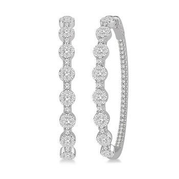 2ct tw Diamond Thousand Points of Light Hoop Earrings in 14K White Gold