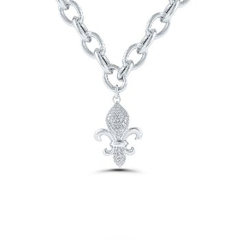 1/10ct tw Diamond Fleur de Lis Bracelet in Sterling Silver
