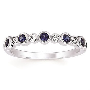1/10ct tw Diamond & Created Blue Sappire September Birthstone Ring in 14K White Gold
