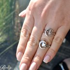 .01ct tw Diamond Moon & Back Fleur De Lis Crescent City Ring in Sterling Silver -