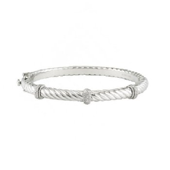 .05ct tw Diamond Bangle Bracelet in Sterling Silver and Steel