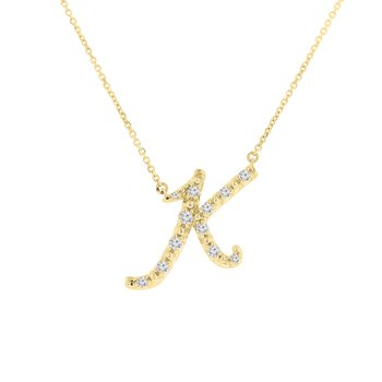 1/4ct tw NewBorn Lab Created Diamond Love Letter Necklace in 14K Yellow Gold