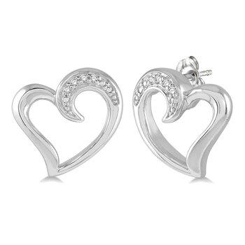 .03ct tw Diamond Heart Earrings in Sterling Silver