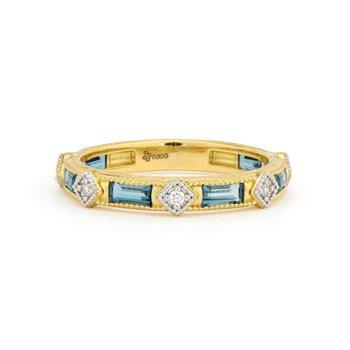 18K Gold BlueTopaz & Diamond Ring