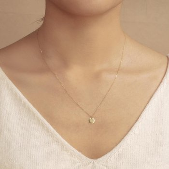 Dot Shiny Disc Necklace White Gold