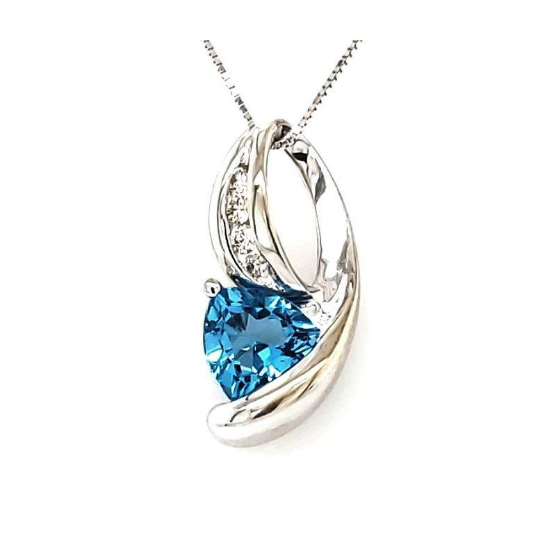 Estate Collection Topaz and Diamond Pendant
