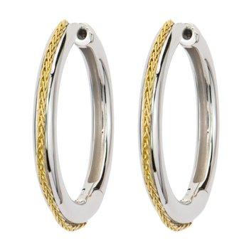 Sterling Silver & 18K Gold Hoop Earrings