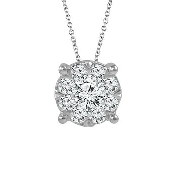 Diamond Halo Pendant in 1/3 CT to 3/4 CT T.W.