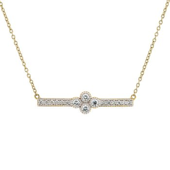 18K Gold Diamond Bar Pendant