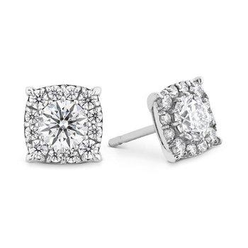 Hearts on Fire Halo Diamond Stud Earrings