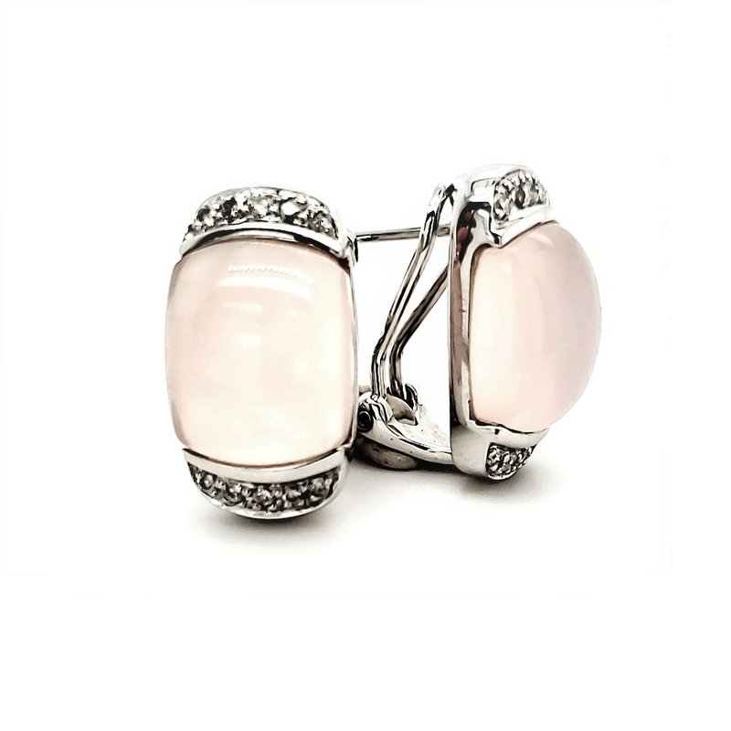 Estate Collection Rose Quartz and Diamond Earrings
