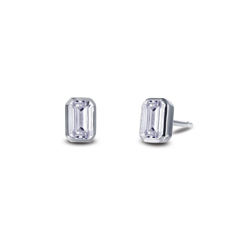 Sartor Hamann Signature Lafonn Sterling Silver Emerald Cut Earrings