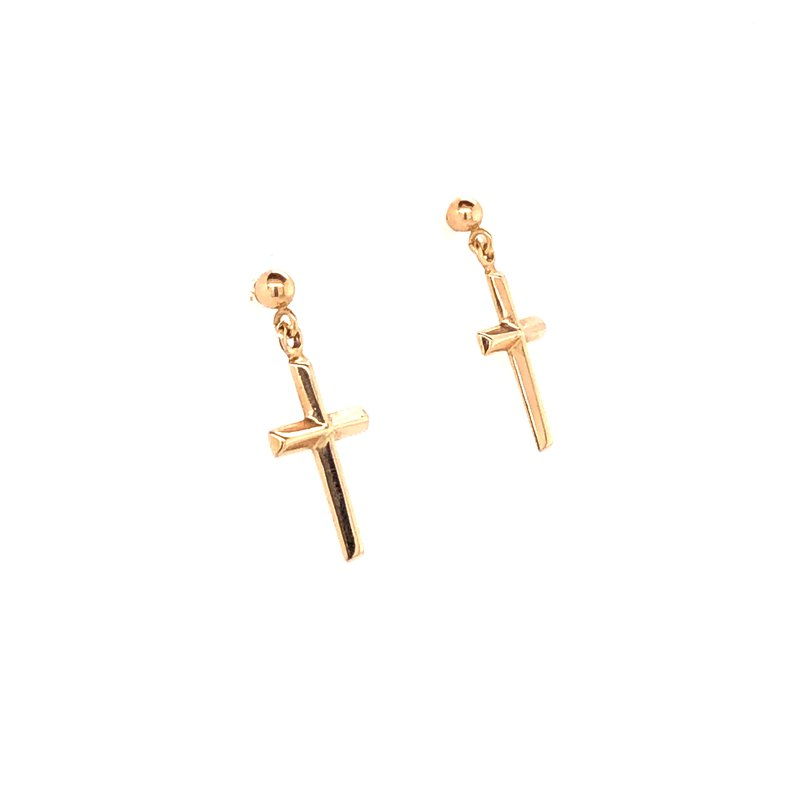 Estate Collection Gold Cross Earrings