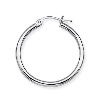 14KT White Gold Hoop Earrings in 6 Sizes