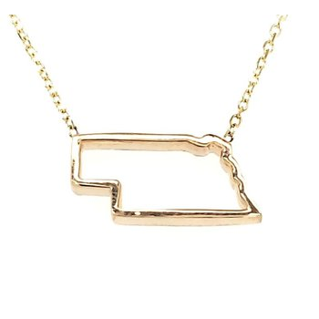 14K Gold Nebraska Pendant in 3 Colors