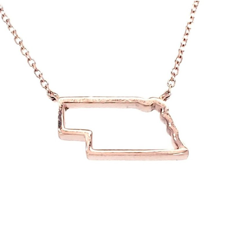 Husker Jewelry Collection 14K Gold Nebraska Pendant in 3 Colors