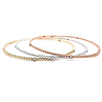 Yellow Gold Stackable Diamond Bangle Bracelet