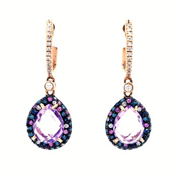 Amethyst and Sapphire Dangle Earrings