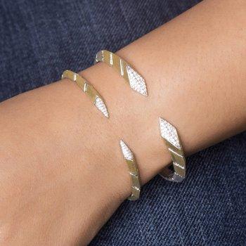 Sterling Silver & 18K Gold Diamond Bangle