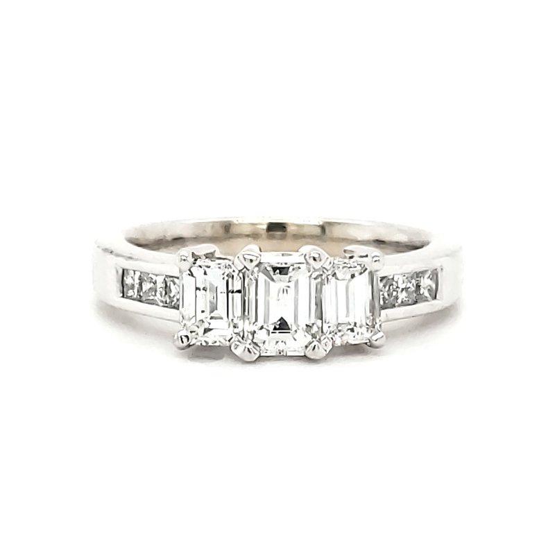 Estate Collection Three Stone Emerald Cut Ring