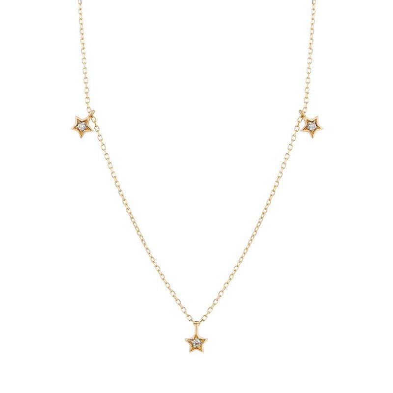 Aurelie Gi Lyra Triple Diamond Star Necklace