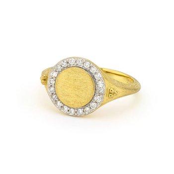 18K Gold Petite Diamond Signet Ring