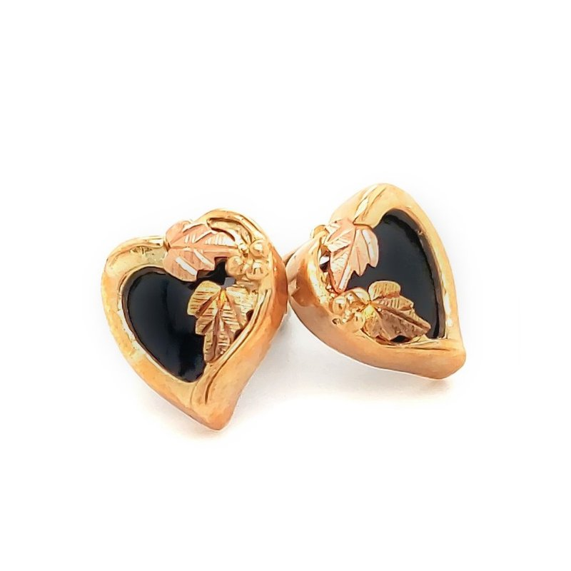 Estate Collection Black Hills Gold Heart Stud Earrings