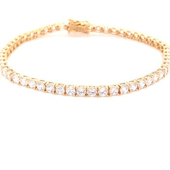 CZ and Gold Tennis Bracelet