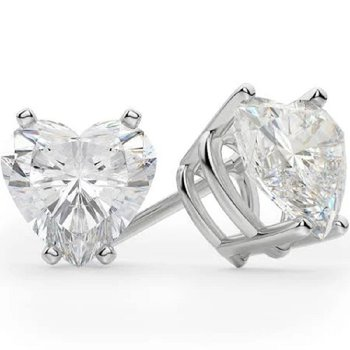 1.01 CT T.W. Heart Shaped Diamond Stud Earrings