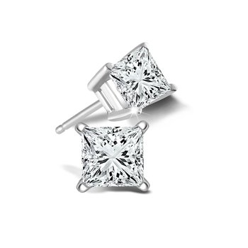 1.42 CT T.W. Princess Cut Diamond Stud Earrings