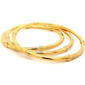 22K Gold Set of 3 Bangle Bracelets