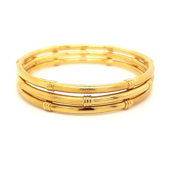 22K Gold Set of 3 Bangle Bracelets