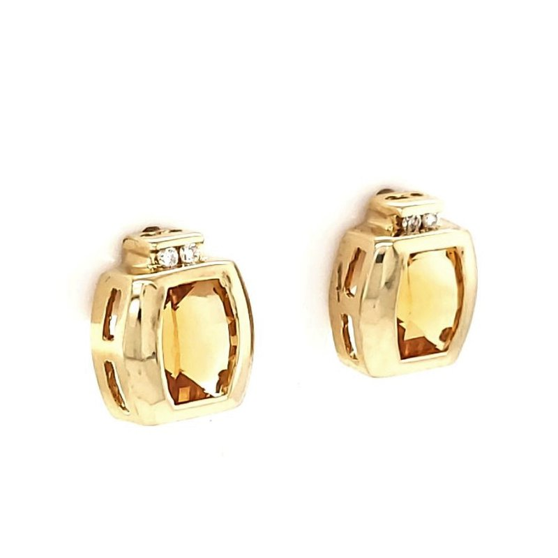 Estate Collection Citrine and Diamond Earrings